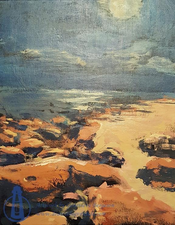 Speedscape: Beach Rocks at Night